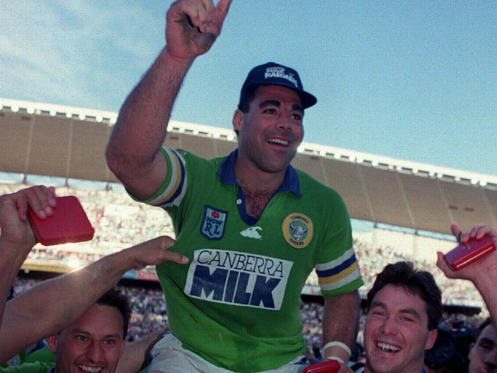 Mal Meninga celebrates victory in 1994.
