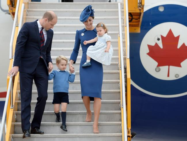 William and Kate, the Duke and Duchess of Cambridge, along with their children Prince George and Princess Charlotte step off the plane as they arrive in Victoria, British Columbia.