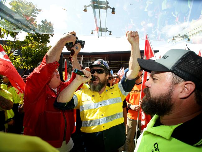Jade Ingham leads a CFMEU protest against CUB. Picture: Mark Calleja
