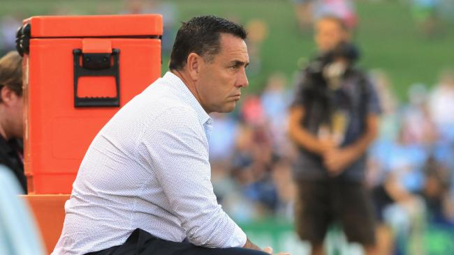 SYDNEY, AUSTRALIA — APRIL 06: Sharks Coach Shane Flanagan looks on before the round five NRL match between the Cronulla Sharks and the Sydney Roosters at Southern Cross Group Stadium on April 6, 2018 in Sydney, Australia. (Photo by Mark Evans/Getty Images)