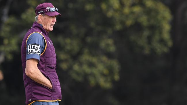 Wayne Bennett looks on during a Brisbane Broncos training session at Red Hill. Picture: Dave Hunt/AAP