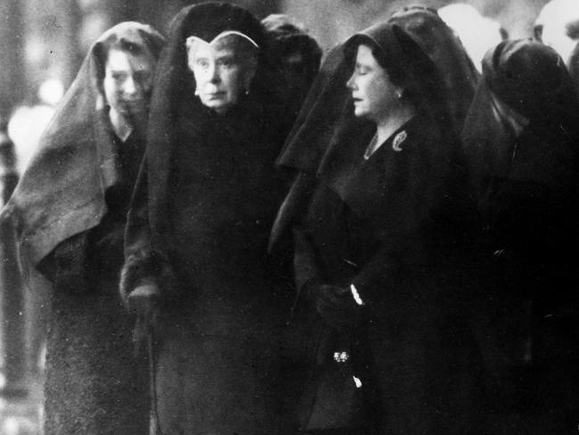 Queen Mary with the Queen Mother and Queen Elizabeth II in 1952 attending the funeral of King George VI.