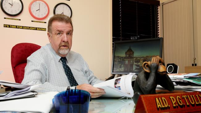 Ipswich Councillor Paul Tully at his office in Goodna. He's called for compensation should he be sacked by the State Government. Picture: AAP/Mark Calleja