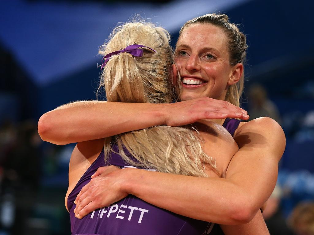 Gretel Tippett and Laura Geitz of the Firebirds. The Brisbane team remain well and truly in the hunt for a top four place. (Photo by Paul Kane/Getty Images)
