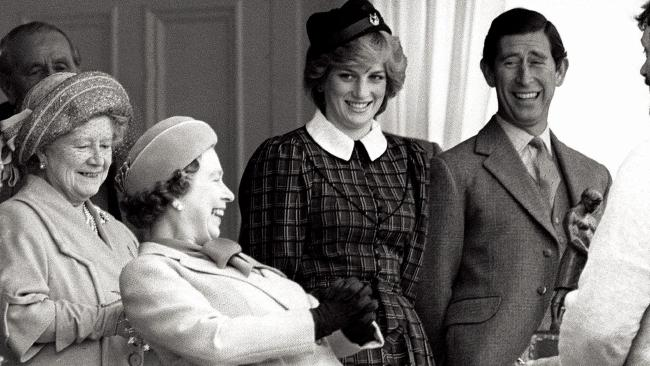 Princess Diana at the Braemar Games September 1982 in Scotland with Prince Charles, Queen Elizabeth and The Queen Mother.