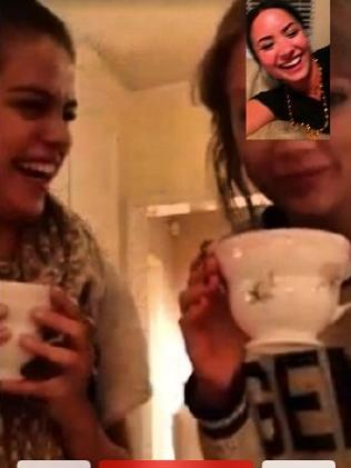 Selena Gomez and Taylor Swift Facetiming with Demi Lovato. Picture: Instagram