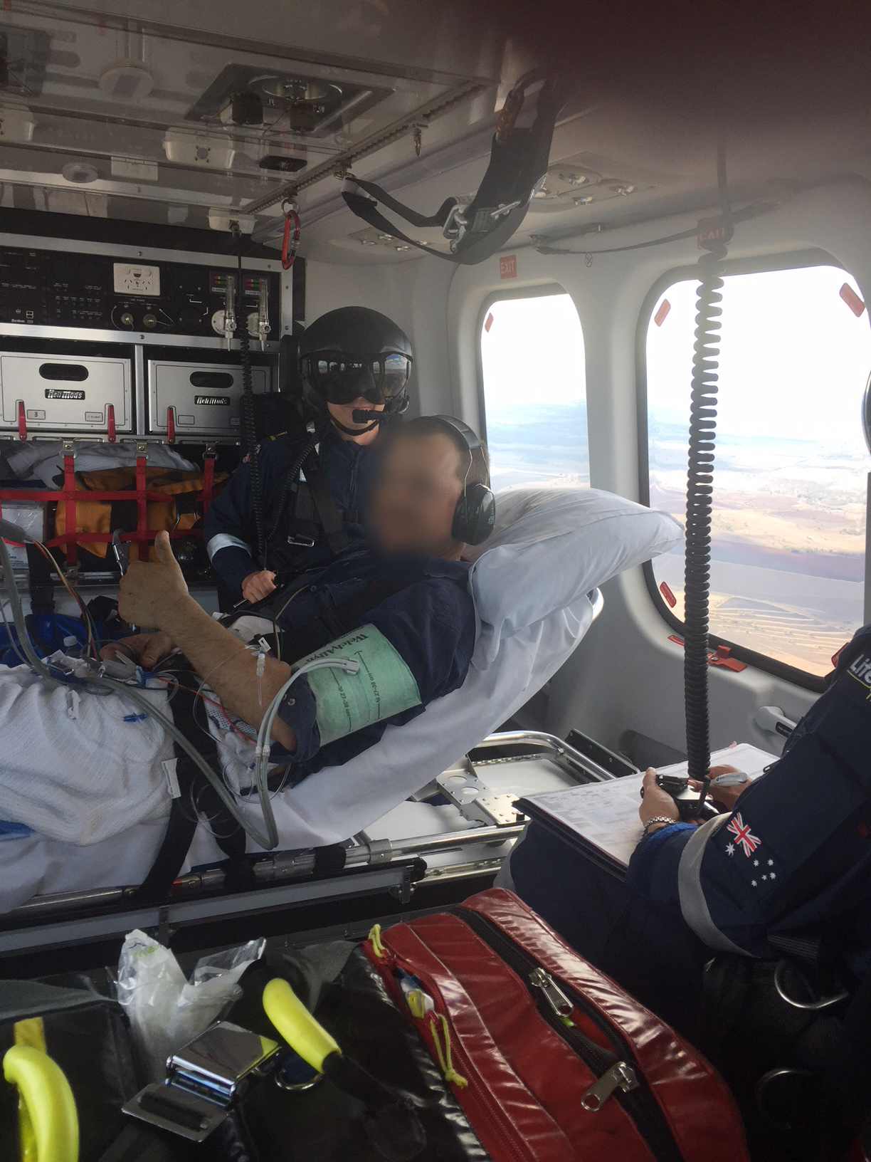 The man was airlifted to Tooowoomba after sustaining injuries from a chainsaw.