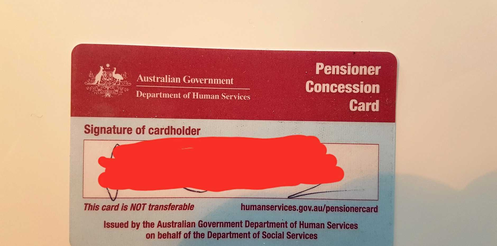 IT'S HAPPENED NOW: Kermie's new pensioner concession card.