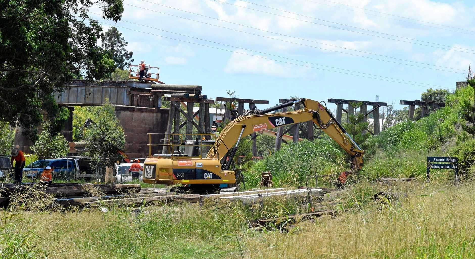 Work on the Rattler's Deep Creek bridge.