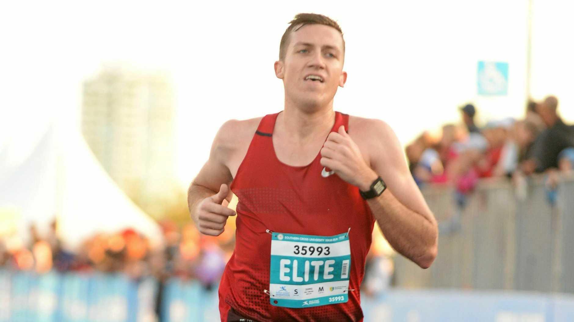 Ipswich runner Glen Yarham on his way to winning the recent 10km event at the Gold Coast.