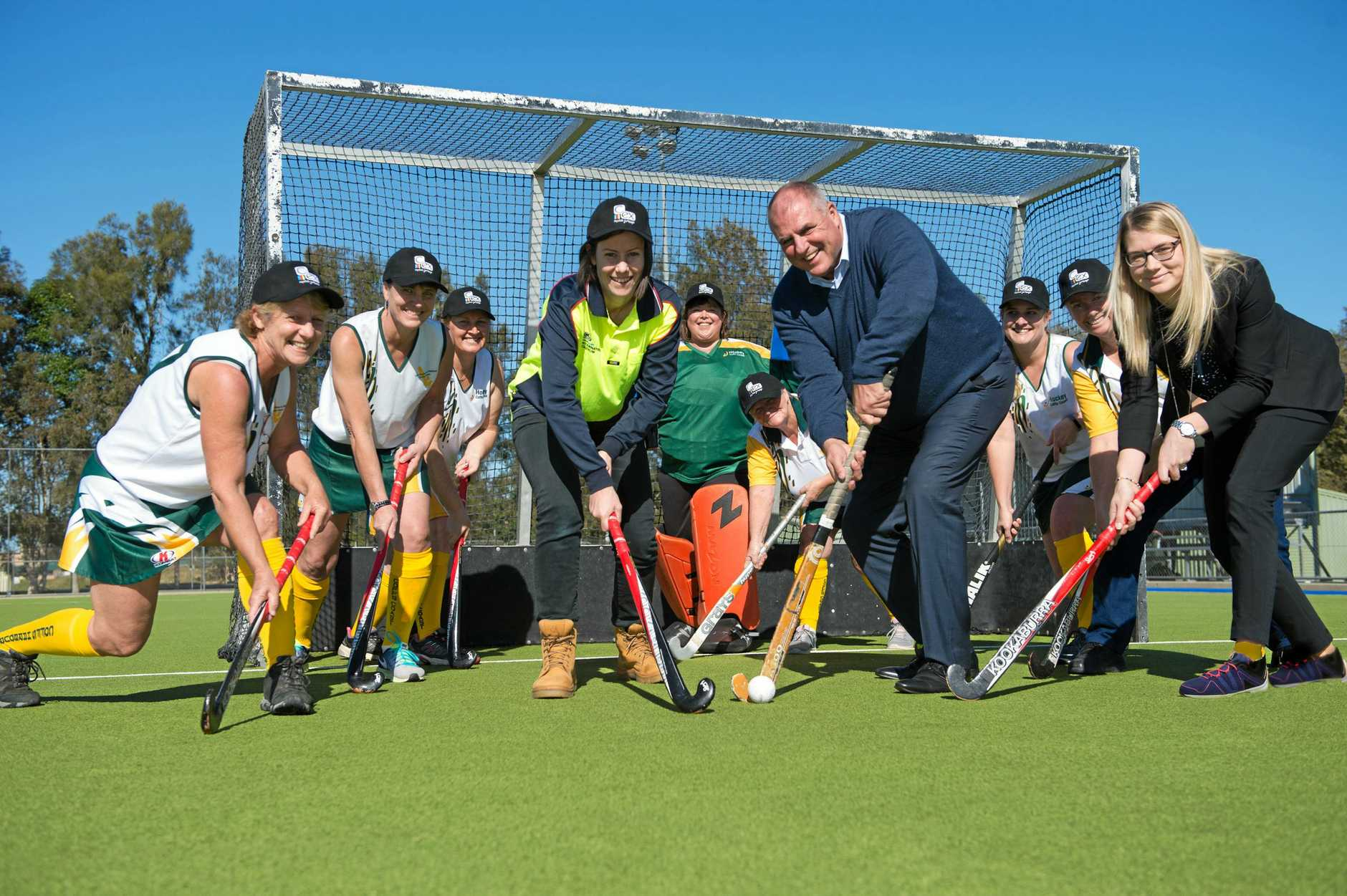 The C.ex Group is sponsoring the State Women's Masters Hockey tournament in Coffs Harbour this weekend. Pictured is Rebecca Ramsay from Coffs Harbour City Council with C.ex Group CEO John Rafferty and C.ex Group Community Relations Manager Sarah Pryor.