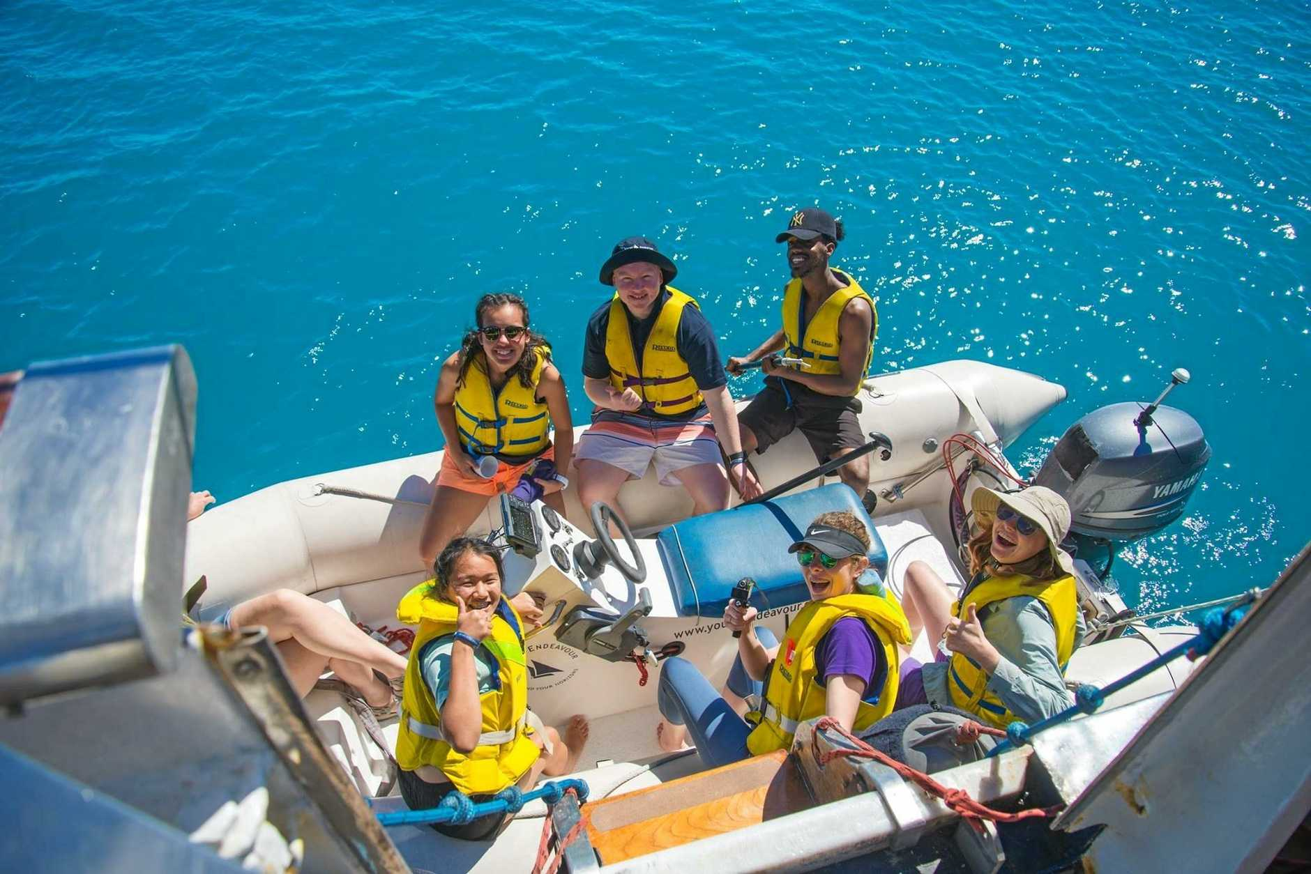 James Nash State School student Jacinta Olsen on board the STS Young Endeavour