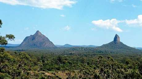 The Glasshouse Mountains, as seen from Tibrogargan.