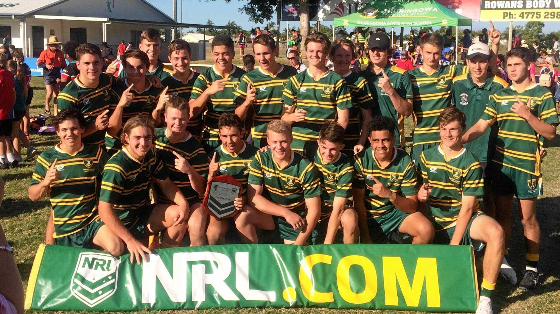 HISTORY MAKERS: Chanel College players pose in celebratory mode after winning the NRL Schoolboy Trophy Central Queensland / North Queensland Quad Series Final.