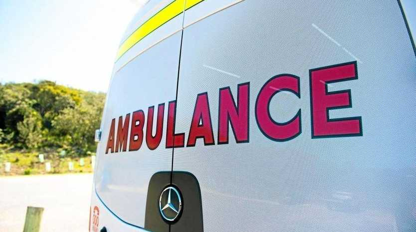 TARA CRASH: The driver of a vehicle is Tara is being treated by QAS staff after a crash this morning.