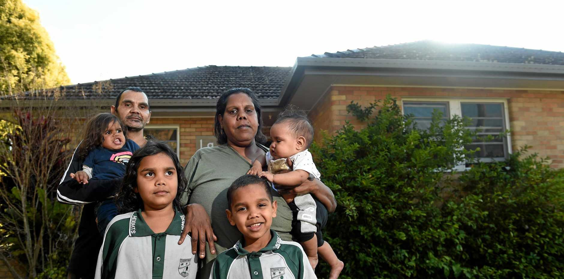 Ailsa Murray and partner Lewis Boyd with children Lakeisha, 8 months, Harmony ,6, Cameron ,5, Lewis ,4, Kyileasha , 2, at the home in Lismore .