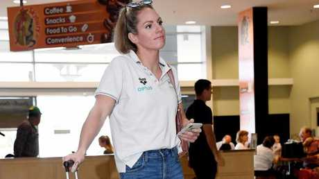 Aussie Swimmer Emily Seebohm arrives in Cairns on Wednesday after splitting with partner Mitch Larkin. Pic: Brian Cassey