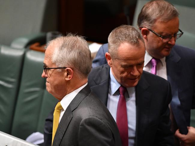 Prime Minister Malcolm Turnbull, Opposition Leader Bill Shorten and prospective alternative Labor leader Anthony Albanese