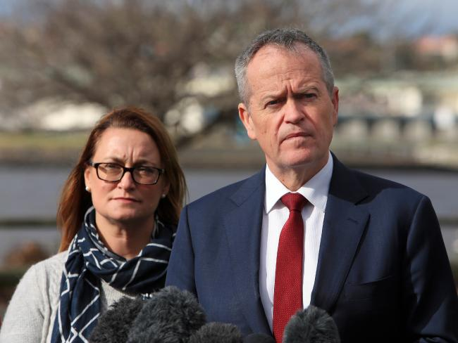 Opposition Leader Bill Shorten with Labor's candidate for Braddon, Justine Keay. Picture: Aaron Francis/The Australian