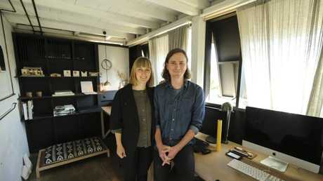 Architects Zuzana Kovar and Nicholas Skepper at their home business where 95 per cent of their work was renovations now. Picture: Mark Cranitch.