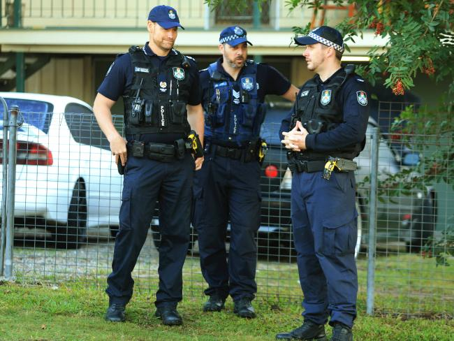 Police stand outside the home of Rosleigh Rose, Schapelle Corby's mother. Picture: Tim Marsden