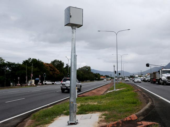 A red-light camera on the Bruce Highway at Mt Sheridan near Cairns. Picture: Stewart McLean