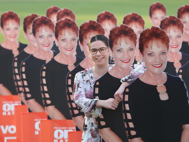 Mystique Scott with the Pauline Hanson cutouts. Picture: Annette Dew