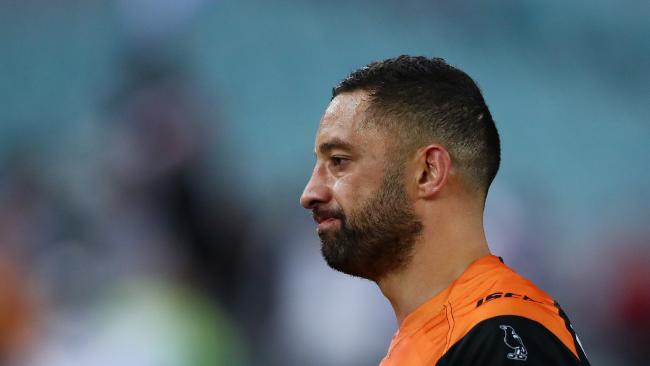 The Tigers' Benji Marshall feels the pain on Friday night. Picture: Cameron Spencer/Getty Images