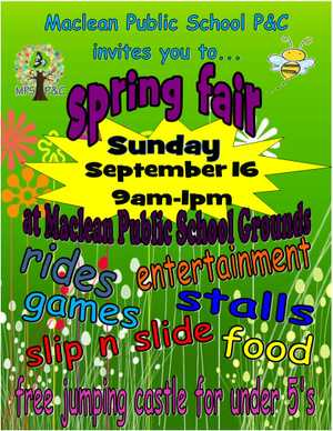 A community Fair with rides, games, free entertainment and rides for children under 5, stalls and good food.