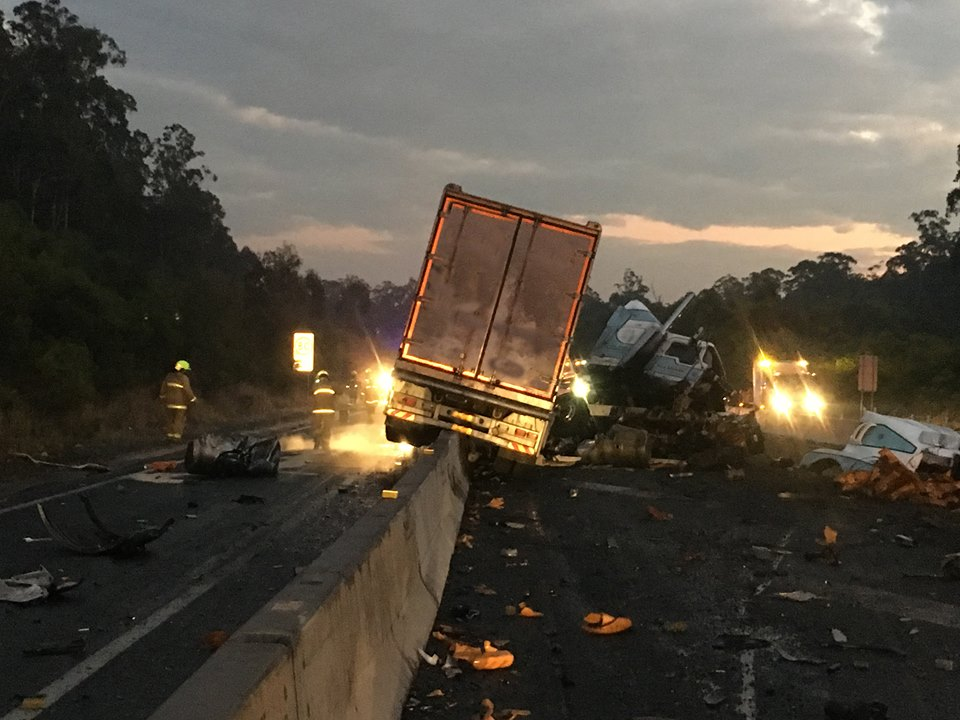 A truck has crashed on the Pacific Highway south of Grafton.