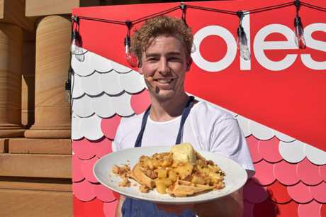 Former Masterchef contestants Sam Goodwin (pictured) and Mimi Baines cooked some apple crumble waffles at the Celebration of Local Flavours for Jumpers and Jazz in July.