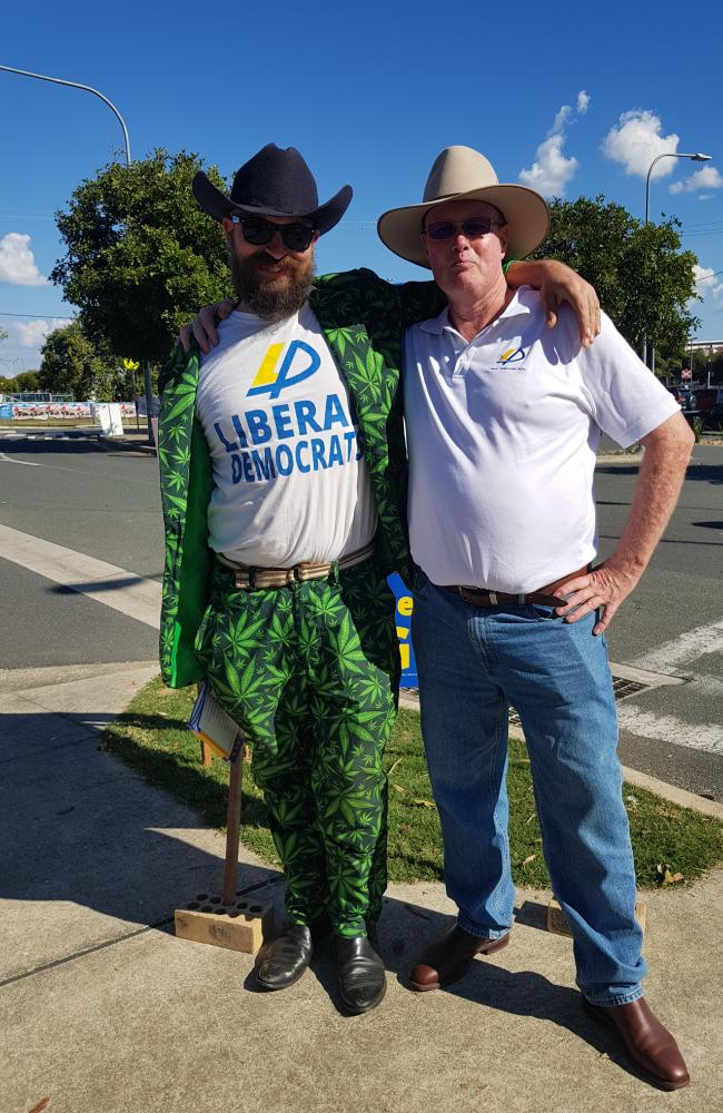 LDP national president Gabriel Buckley with Liberal Democratic Party candidate Lloyd Russell. Picture: Emma Williams