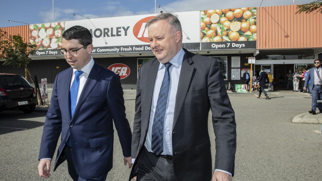 Labor's candidate for Perth Patrick Gorman (left) with Anthony Albanese. Picture: Tony McDonough/AAP