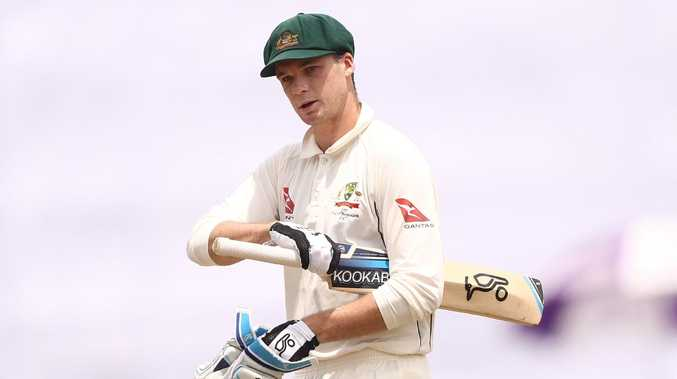 Peter Handscomb departs after being dismissed by Bangladesh's Taijul Islam in the first Test at Shere Bangla National Stadium on August 30, 2017. Picture: Robert Cianflone/Getty