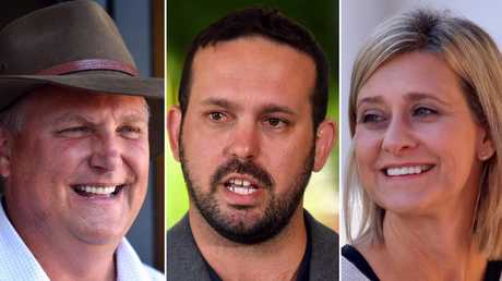 LNP candidate for Longman Trevor Ruthenberg,  One Nation candidate Matthew Stephen and Labor candidate Susan Lamb. Picture: AAP Image/Mick Tsikas