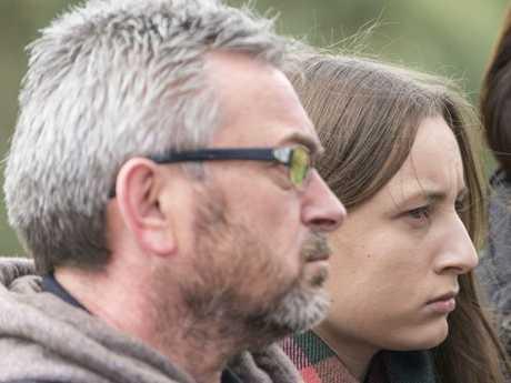 Karen's husband Borce Ristevski and daughter Sarah at a press conference after her disappearance. Picture: Eugene Hyland