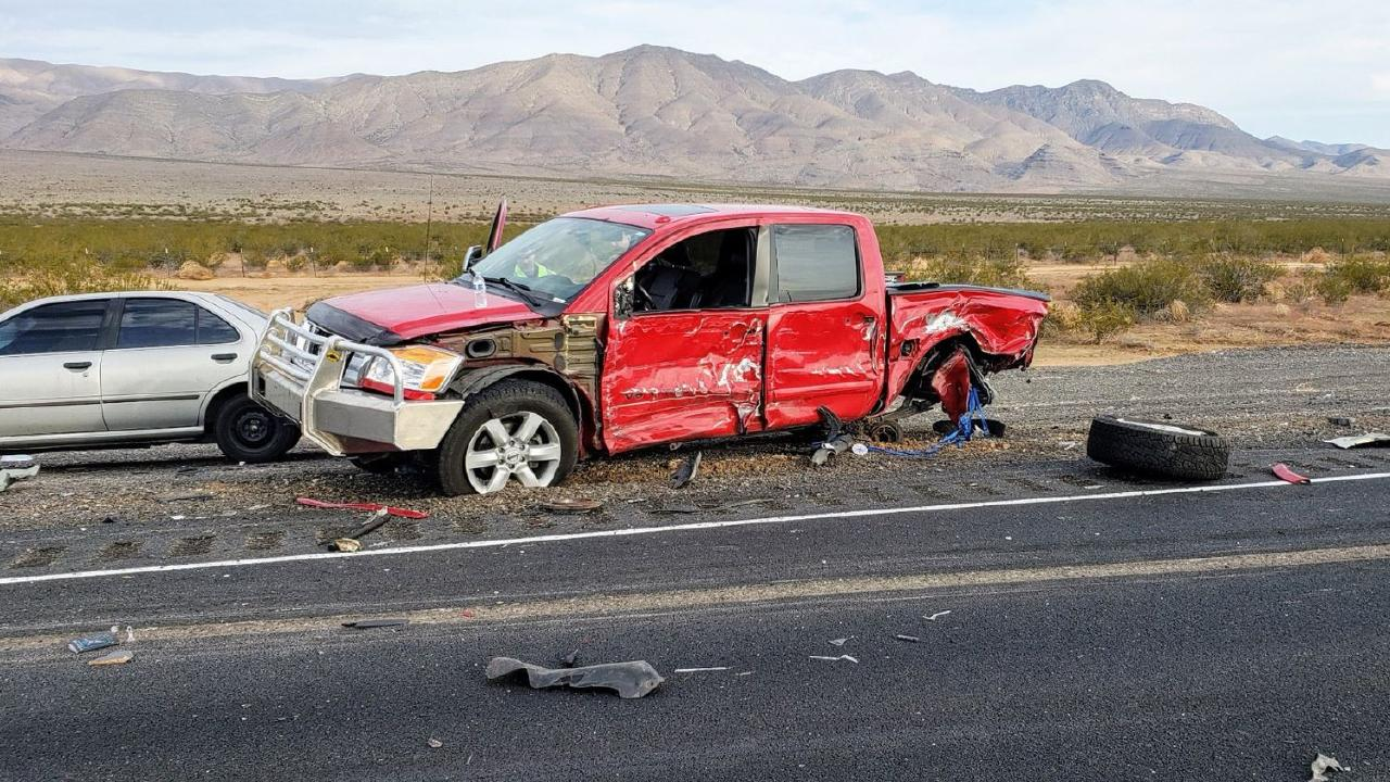 The crash resulted in the deaths of a driver and passenger, who were stopped by a traffic controller. Picture: Nevada Highway Patrol.