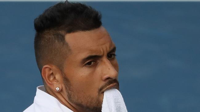 Australia's Nick Kyrgios retires hurt at the Atlanta Open. Picture: Kevin C Cox/Getty Images