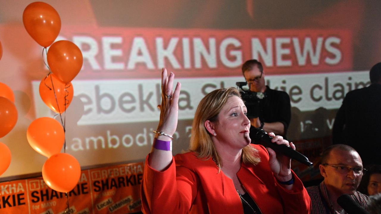 Centre Alliance's Rebekha Sharkie is seen with celebrating her win in the federal by-election of Mayo with supporters at the Mt Barker Wallis theatre in Adelaide. Picture: AAP Image/David Mariuz.