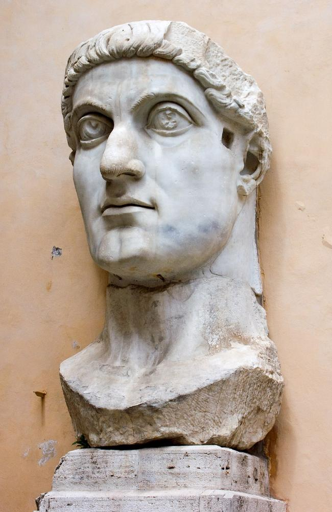 Bust of Emperor Constantine who made Christianity his empire's religion, but expunged women's pivotal role from the Jesus story for his own ends.