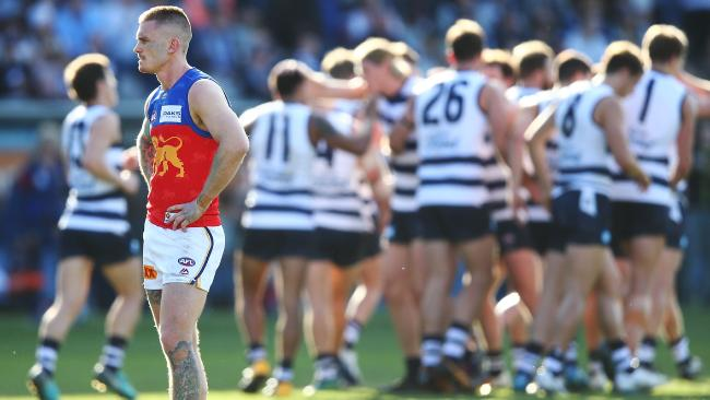 Geelong proved too good for the Lions at GMHBA Stadium. Picture: Michael Dodge/Getty Images