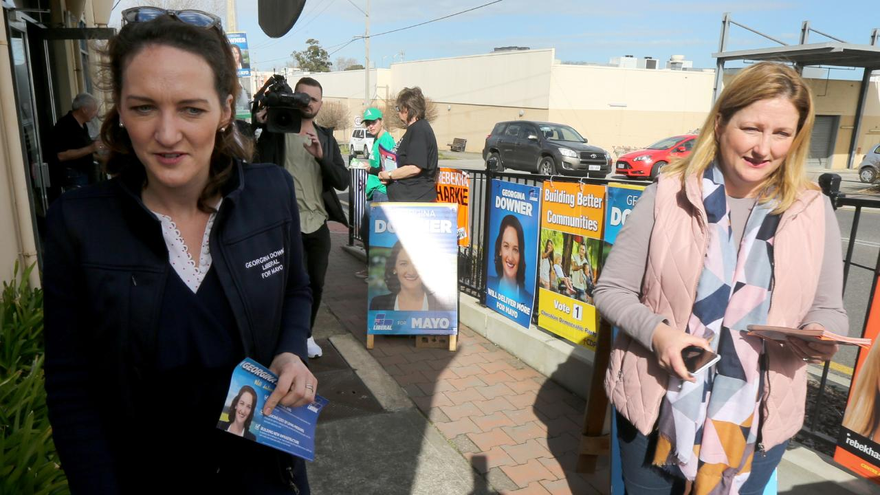 Mayo candidates Rebekha Sharkie (right) and Georgina Downer at a Mayo by-election pre-polling booth. Picture: Kelly Barnes/AAP