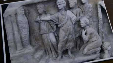 On the first sarcophagus, Mary (right) and Martha are bareheaded and normal sized in the tomb when Jesus raises their brother Lazarus from the dead.
