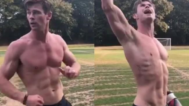 Chris Hemsworth, just casually working out.
