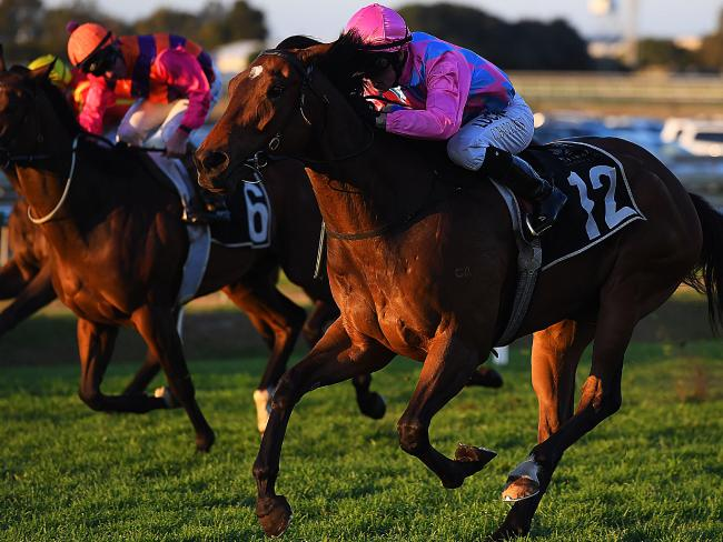 Jockey Corey Bayliss and Looks Like Elvis explode down the outside to win the QTIS Three-Years-Old Handicap. Picture: AAP