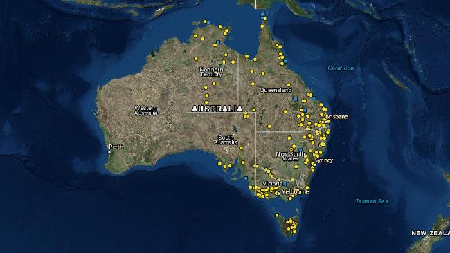 Every dot represents a mass killing. Picture: University of Newcastle