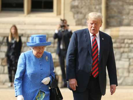 Queen Elizabeth II met President of the United States, Donald Trump at Windsor Castle on July 13. Picture: Getty