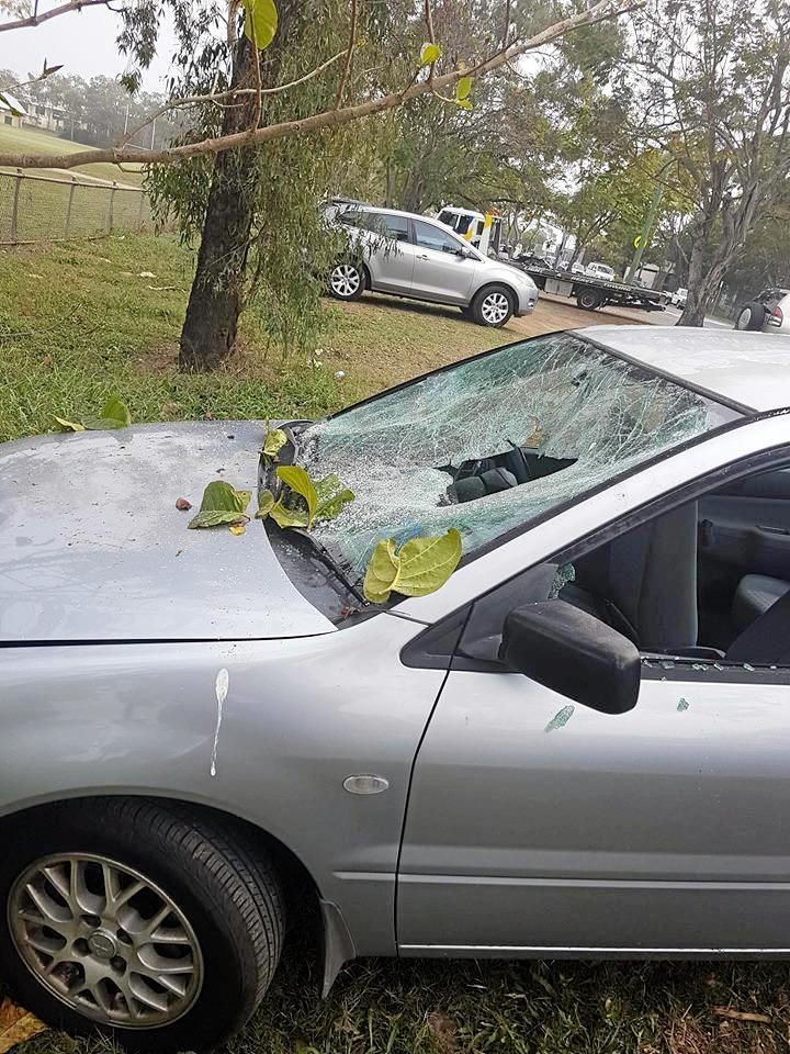 Queensland Police Service are investigating a string of vehicle crimes in Wandal overnight. Lachlan Webley's car was one of six cars damaged.