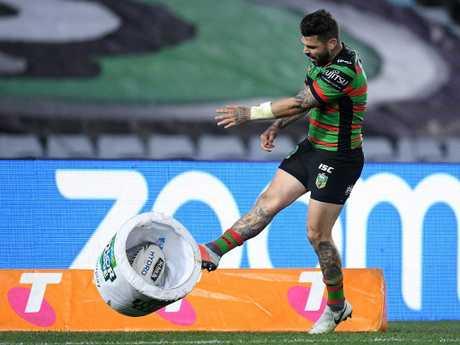Adam Reynolds kicks a bucket after a try was disallowed against Parramatta.