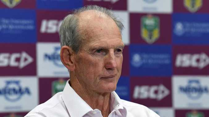 Broncos coach Wayne Bennett looks on during a post match press conference following the Round 20 NRL match between the Brisbane Broncos and the Cronulla-Sutherland Sharks at Suncorp Stadium in Brisbane, Thursday, July 26, 2018. (AAP Image/Dave Hunt) NO ARCHIVING, EDITORIAL USE ONLY